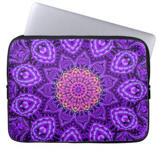 Ornate Purple Flower Vibrations Kaleidoscope Art Computer Sleeve