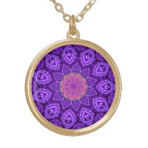 Ornate Purple Flower Vibrations Kaleidoscope Art Gold Plated Necklace
