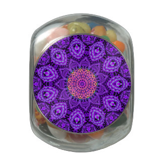 Ornate Purple Flower Vibrations Kaleidoscope Art Jelly Belly Candy Jars