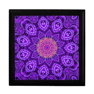 Ornate Purple Flower Vibrations Kaleidoscope Art Jewelry Box