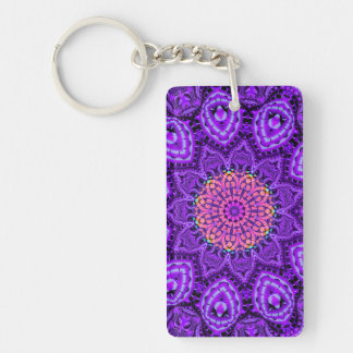 Ornate Purple Flower Vibrations Kaleidoscope Art Keychain