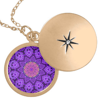 Ornate Purple Flower Vibrations Kaleidoscope Art Locket Necklace