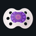 "Ornate Purple Flower Vibrations Kaleidoscope Art Pacifier<br><div class=""desc"">A bright and ornate purple elegant flower shaped kaleidoscope with beautiful petal designs and intricate patterns. The center stands out with orange and pink colors. An original digital artwork.</div>"