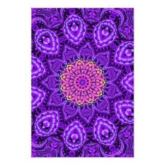 Ornate Purple Flower Vibrations Kaleidoscope Art Photo Print