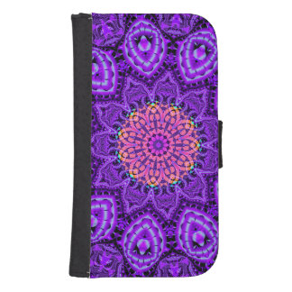 Ornate Purple Flower Vibrations Kaleidoscope Art Phone Wallet Case