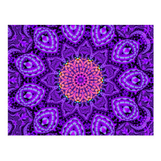 Ornate Purple Flower Vibrations Kaleidoscope Art Postcard
