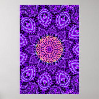 Ornate Purple Flower Vibrations Kaleidoscope Art Poster