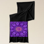 """Ornate Purple Flower Vibrations Kaleidoscope Art Scarf<br><div class=""""desc"""">A bright and ornate purple elegant flower shaped kaleidoscope with beautiful petal designs and intricate patterns. The center stands out with orange and pink colors. An original digital artwork.</div>"""