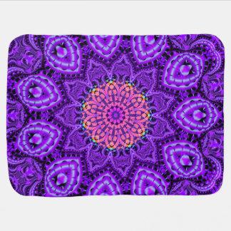 Ornate Purple Flower Vibrations Kaleidoscope Art Stroller Blanket