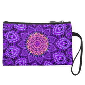 Ornate Purple Flower Vibrations Kaleidoscope Art Suede Wristlet Wallet