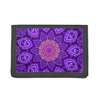 Ornate Purple Flower Vibrations Kaleidoscope Art Tri-fold Wallets