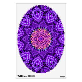Ornate Purple Flower Vibrations Kaleidoscope Art Wall Sticker