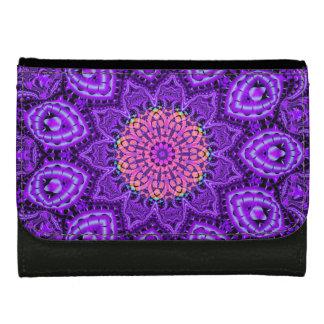 Ornate Purple Flower Vibrations Kaleidoscope Art Wallet