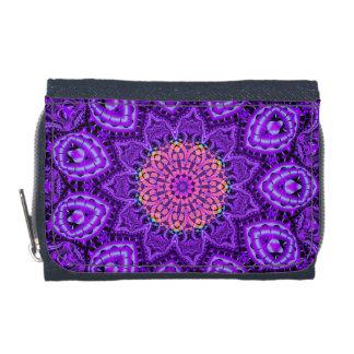 Ornate Purple Flower Vibrations Kaleidoscope Art Wallets