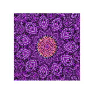 Ornate Purple Flower Vibrations Kaleidoscope Art Wood Print
