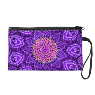 Ornate Purple Flower Vibrations Kaleidoscope Art Wristlet Purse