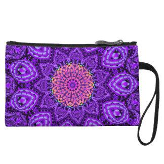 Ornate Purple Flower Vibrations Kaleidoscope Art Wristlet Wallet