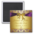 Ornate Purple gold Damask Save the Date Magnet