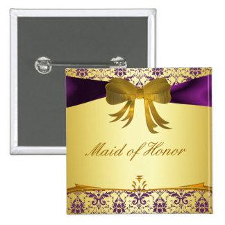 Ornate Purple Gold Damask Wedding Party Button/Pin Button