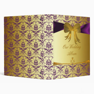 Ornate Purple Gold Damask Wedding Photo Album 3 Ring Binder