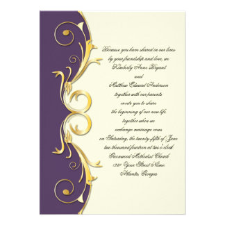 Ornate Purple Gold Wedding Celebration Personalized Announcement