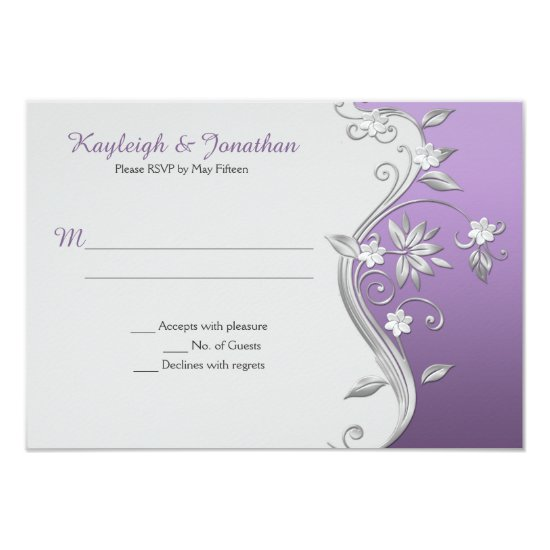 Ornate Purple Lavender Silver Flowers Swirls RSVP Invitation