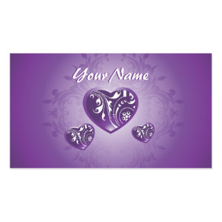 Ornate Purple Love Hearts Business Card
