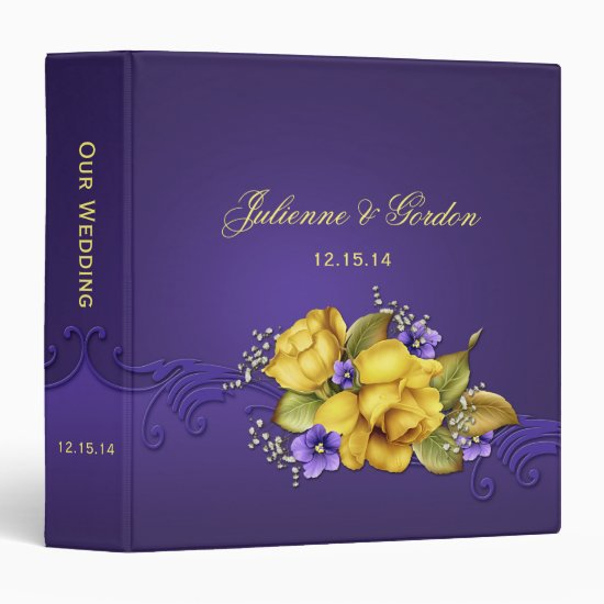 Ornate Purple Pansies Yellow Roses Wedding Album Binder