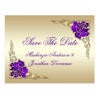 Ornate Purple Roses Gold Leaves Save The Date Postcard