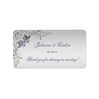 Ornate Purple Silver Floral Address Label