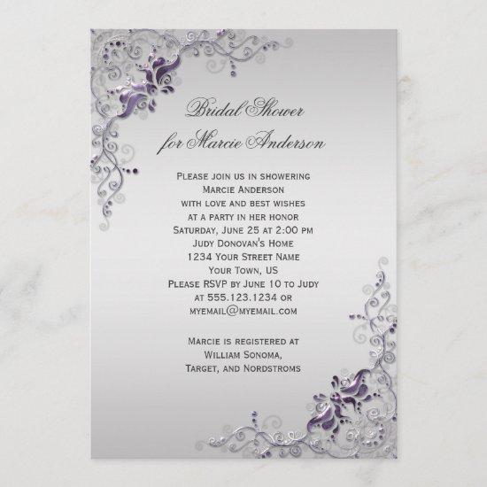 Ornate Purple Silver Floral Swirls Bridal Shower Invitation