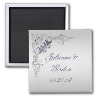 Ornate Purple Silver Floral Swirls Favor Magnet