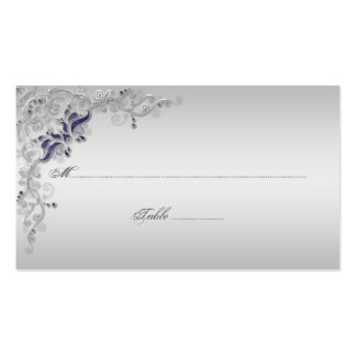Ornate Purple Silver Floral Swirls Place Cards Double-Sided Standard Business Cards (Pack Of 100)