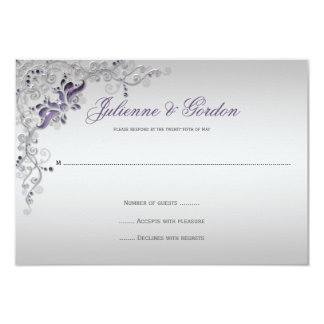Ornate Purple Silver floral Swirls RSVP 3.5x5 Paper Invitation Card