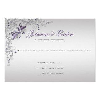 Ornate Purple Silver floral Swirls RSVP Personalized Invite
