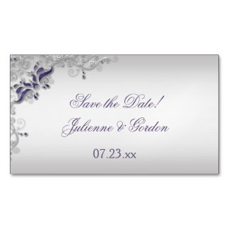 Ornate Purple Silver Floral Swirls Save The Date Magnetic Business Cards (Pack Of 25)