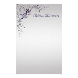 Ornate Purple Silver Floral Swirls Stationery