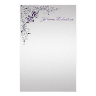 Ornate Purple Silver Floral Swirls Stationery