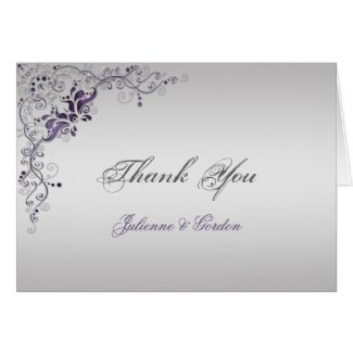 Ornate Purple Silver Floral Swirls Thank You Greeting Cards