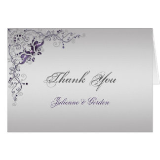Ornate Purple Silver Floral Swirls Thank You Stationery Note Card