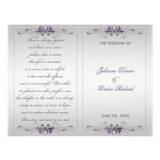 Ornate Purple Silver Floral Swirls Wedding Program
