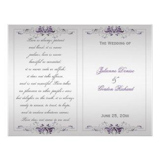 Ornate Purple Silver Floral Swirls Wedding Program Personalized Flyer