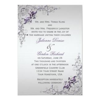 Ornate Purple Silver Floral Swirls Weddings 5x7 Paper Invitation Card