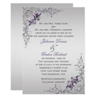 Ornate Purple Silver Floral Swirls Weddings Card