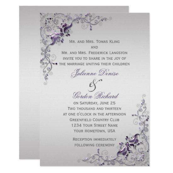Ornate Purple Silver Floral Swirls Weddings Invitation