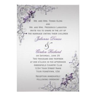 Ornate Purple Silver Floral Swirls Weddings Custom Announcement
