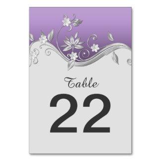 Ornate Purple Silver Flowers Swirls Table Cards