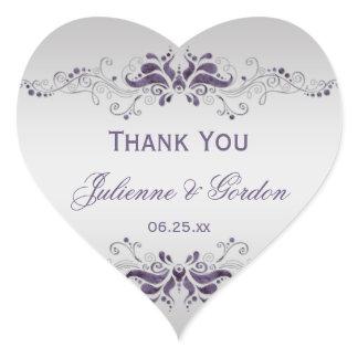 Ornate Purple Silver Swirls Heart Wedding Favor Heart Sticker