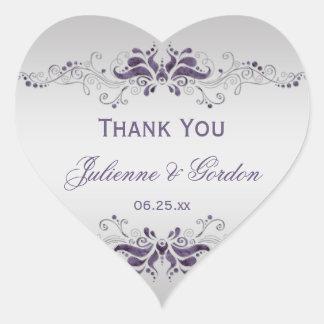 Ornate Purple Silver Swirls Heart Wedding Favor Heart Stickers