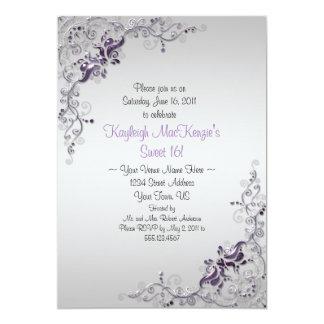 Ornate Purple Silver Swirls on Silver Sweet 16 5x7 Paper Invitation Card